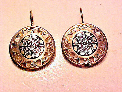 Vintage Russian 875 Silver Niello Earrings
