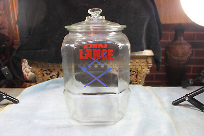 "Vintage Original Glass Lid Lance Cross Arrow Peanut 12  1/2"" Tall Jar"