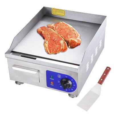 """1500W 14"""" Electric Countertop Griddle Flat Top Commercial Restaurant Grill BBQ"""