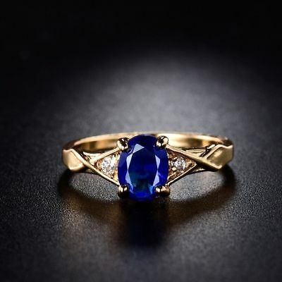 Elegant 24k Yellow Gold Filled Blue Sapphire Crystal Wedding Rings For Women Sz7