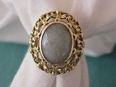 Art Deco 14K Solid Gold 25 X 21 Mm Jade Ring Sz 9 1/4 Very Old