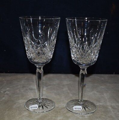 New Unused Set Of 2 Waterford Cut Crystal Tall Lismore Water Goblets