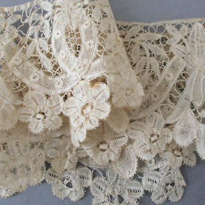"Antique Handmade French LACE Brussels Bobbin Lace 3"" Wide X 20"" * Creamy Ecru"