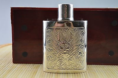 252g S999 Fine Solid Silver Hand Made Drunkard Dragon Flower Hip Flask Bottle