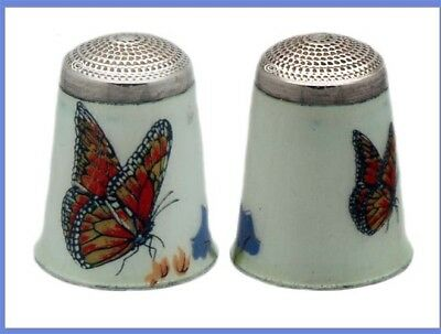 Sterling Silver and Enameled Thimble, Butterflies *C.1970s