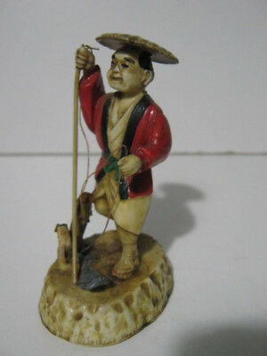 Vintage Antique Japanese Celluloid Figure of A Fisherman Height 8.5 cm