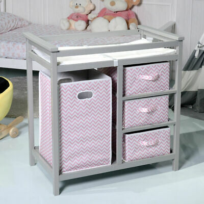 Gray Pink Infant Baby Changing Table w/3 Basket Hamper Diaper Storage Nursery