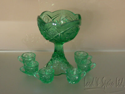 Green Pressed/Pattern Glass Childs 7 Pc Toy Play Punch Set