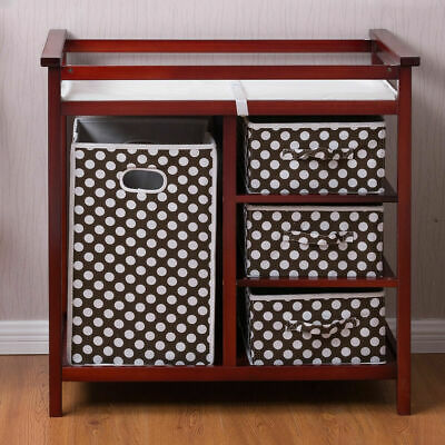Cherry Infant Baby Changing Table w/3 Basket Hamper Diaper Storage Nursery New