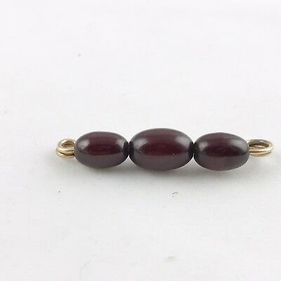 ANTIQUE SOLID 9ct ROSE GOLD AMBER BEAD PIN BROOCH