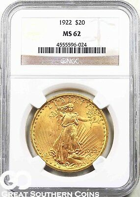 1922 NGC Double Eagle, $20 Gold St. Gaudens NGC MS 62 ** Lustrous ** Free S/H