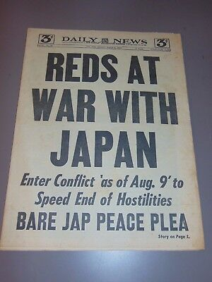 Aug. 9, 1945 New York Newspaper: Wwii Russia Wars Japan; Hiroshima Atomic Bomb