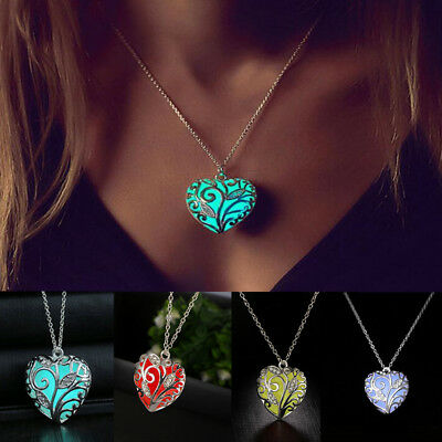 Unique Magical Fairy Glow in the Dark Pendant Locket Heart Luminous Necklace ·