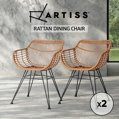 2x Outdoor Dining Chair Furniture Rattan PE Wicker Garden Patio Cafe Brown 3927