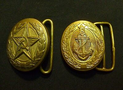 2 Old Russian Soviet Army + Navy Parade Uniform Belt Buckle Buckles USSR