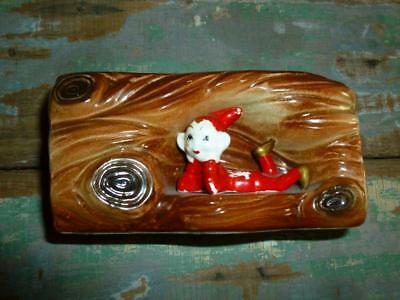 Vintage / PIXIE Log Trough Vase Imp / Elf
