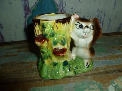 Vintage Novelty Squirrel Planter, Glazed Ceramic Planter Vase .Cute Little Face