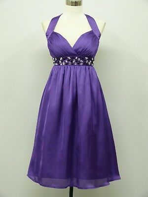 dress190 Purple Chiffon Halter Cocktail Party Prom Evening Ball Gown Dress 14-16