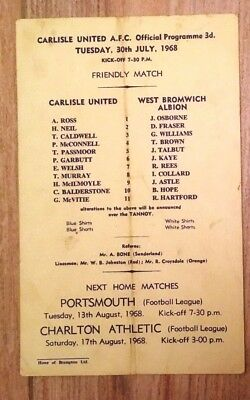 Carlisle United V West Bromwich Albion Single Card Pre Season Friendly 30-7-68