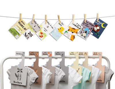 BABY WARDROBE DIVIDERS + MILESTONE CARDS SET | Organise Clothes + Keepsake (W)