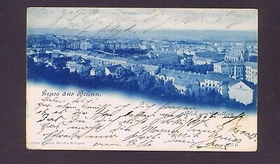 Austria Empire 1899 old used blue and white postcard Gruss aus Brunn