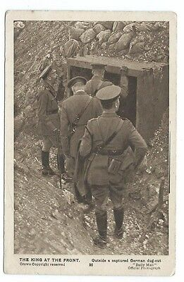 King George V At The Front Inspecting A Captured German Dugout. B&w Pc