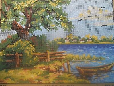 """Collection D'Art """"Riverside Scene 10.196"""" Printed Tapestry Canvas"""