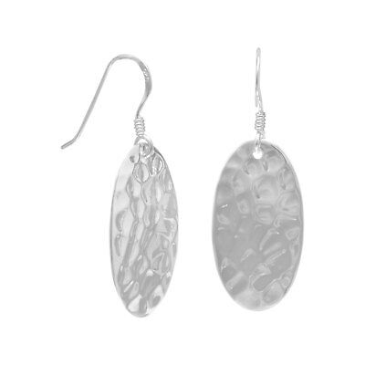 Large Oval Hammered Earrings With French Hooks 925 Sterling Silver