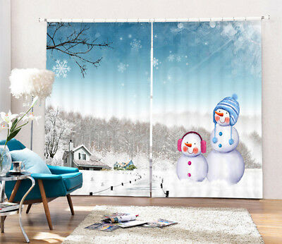 Merry Christmas Snow World 3D Photo Printing Decor Curtain Drapes Fabric Window