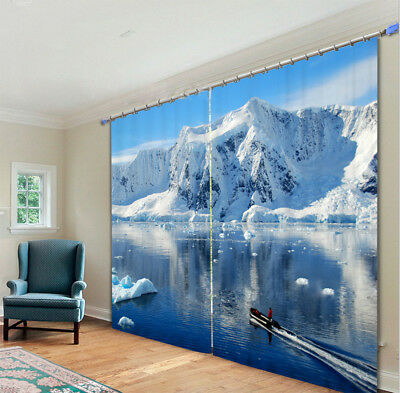 Merry Christmas Travel Iceberg 3D Photo Print Decor Curtain Drapes Fabric Window