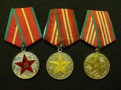 3 Russian Soviet Army 10 15 20 Years Excellent Service Medal Medals USSR