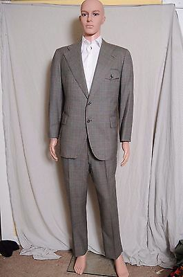 VTG 70s Cricketeer windowpane plaid gray 2 button wide lapel suit 42 35X27.5