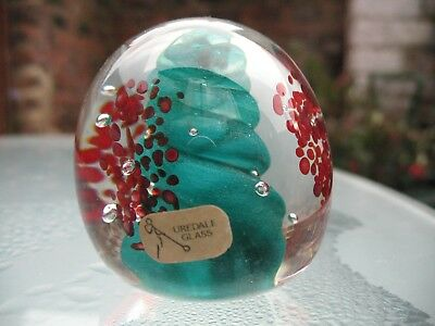 Uredale Studio Glass Paperweight Masham Yorks Red Green with Label Vintage MINT