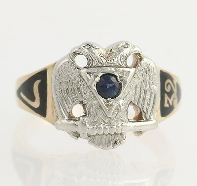 Scottish Rite Sapphire Masonic Ring - 14k Yellow Gold Platinum Genuine .18ct