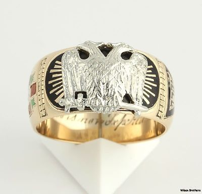 c.1919 Scottish Rite Vintage Ring Band - 14k Solid Yellow White Gold 10.75 TN A+