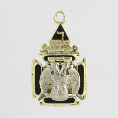 Masonic Folding Fob Vintage - 14k Yellow White Gold Masons Scottish York Rite