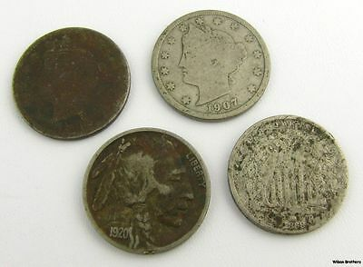 Vintage Nickel Set - 4 5 Cent Pieces Buffalo 1869 1905 1907 1920 Collectible