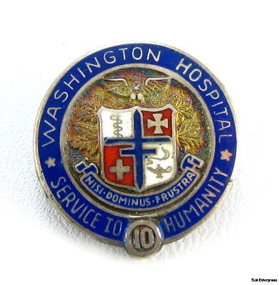 WASHINGTON HOSPITAL Silver 10 Years Medical Crest PIN