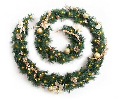 Best Artificial Decorated Gold Luxury Christmas Garland & Warm White LED Lights