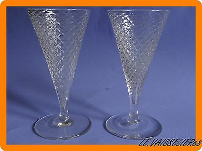 2 Anciens Verres A Vin  Cristal Baccarat Modele Nid D'abeille Napoleon Iii