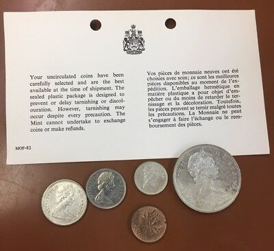 1965 Canada Prooflike Silver Uncirculated 5 Coin Set With Paper COA - TCC