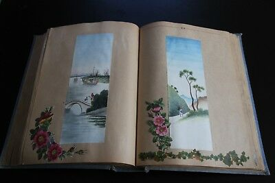 Old scrap album of victorian & later water colours, scraps & prints 68 pages