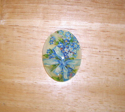 Forget Me Not Floral 30X40mm Glitter Unset Handmade Art Bubble Cameo Cabochon