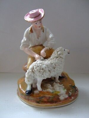 Victorian Antique Dudson Staffordshire Pottery Figurine ~ The Sheep Shearer 1850