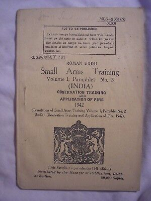 British Indian Army Weapon Training Manual 1942 Observation History Urdu Text