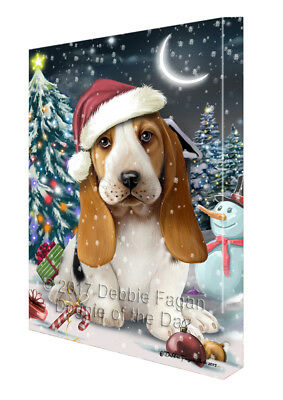 Holly Jolly Christmas Basset Hound Dog in Holiday Canvas Wall Art T137