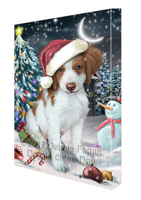 Holly Jolly Christmas Brittany Spaniel Dog in Holiday Canvas Wall Art T138