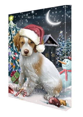 Holly Jolly Christmas Brittany Spaniel Dog in Holiday Canvas Wall Art T140
