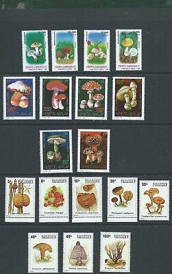 Turkey 1985 Vietnam and Zaire Mushrooms & Fungi mint sets 18 stamps MNH
