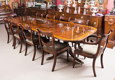 Bespoke Flame Mahogany 10ft Twin Pillar Dining Table & 10 Chairs
